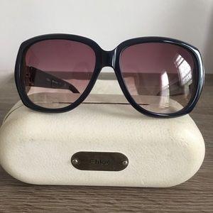 Oversized Navy Chloe Sunglasses